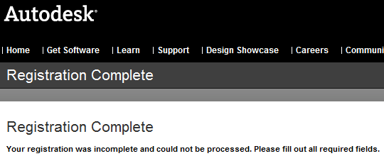 Autodesk Registration Complete