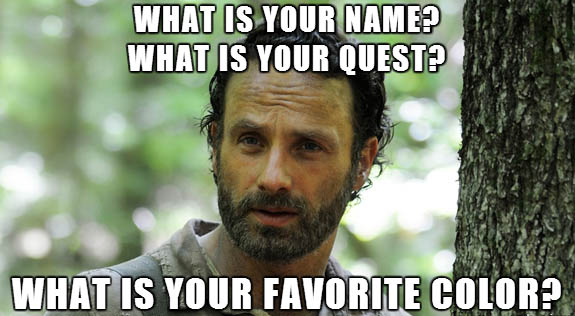 The Walking Dead S04E01 - Rick's 3 questions