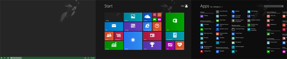 Windows 8.1 Desktop, Start screen, Apps