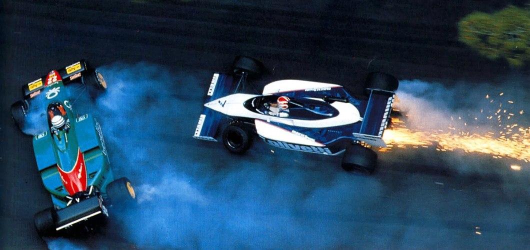 Riccardo Patrese (Alfa T185), Nelson Piquet (Brabham–BMW), Monaco, 1985