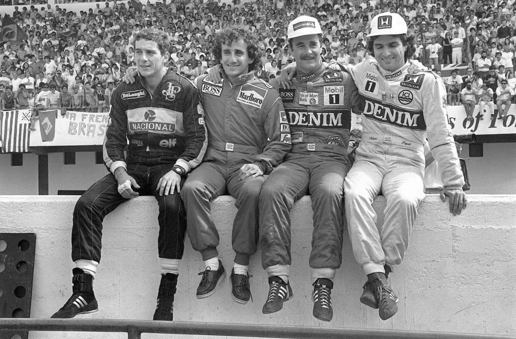Ayrton Senna, Alain Prost, Nigel Mansell, Nelson Piquet, Estoril, Portugal, 1986